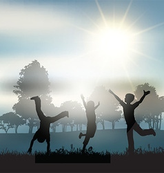 Children playing in the countryside vector image vector image