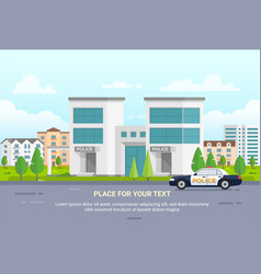 City police station with place for text - modern vector