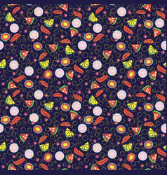 Detox water of fresh fruit seamless pattern vector