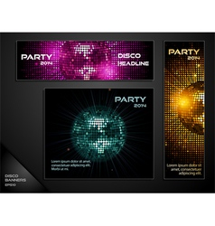 Disco ball mosaic banners vector