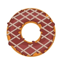 Donut with striped glazed and chocolate vector