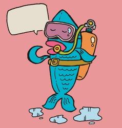 fish diver vector image vector image
