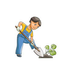 flat boy digging hole for a plant vector image