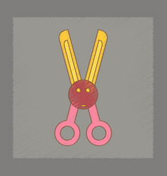 Flat shading style icon kids scissors vector