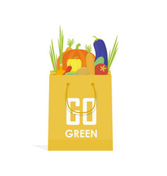 go green paper eco food bag vector image vector image