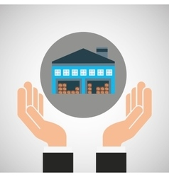 hand delivery service warehouse graphic vector image