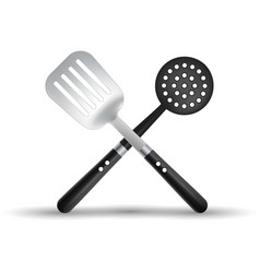 kitchen spatula and skimmer isolated on a white vector image vector image
