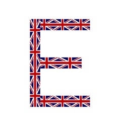 Letter e made from united kingdom flags vector