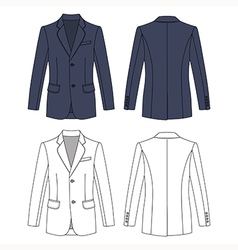 Long sleeve mans buttoned gray colored jacket vector