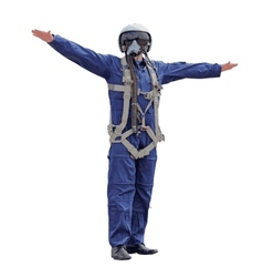 Man dressed a pilot on a white background vector