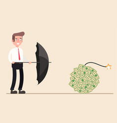 near the person a lot of money like bomb waitin vector image vector image