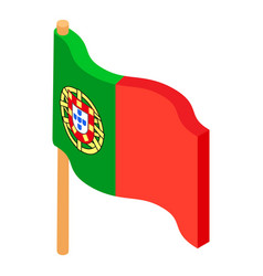 portugal flag icon isometric style vector image vector image