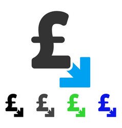 Pound decrease flat icon vector