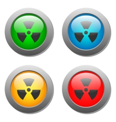 Radioactivity icon on buttons set vector image