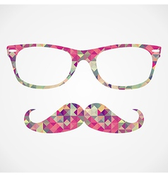 Retro hipster face geometric icons vector image