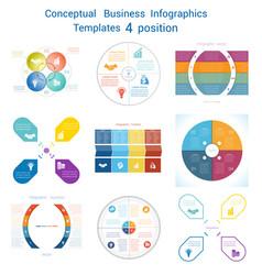 Set infographics conceptual cyclic processes four vector