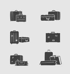 Set of suitcases and handbags vector