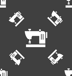 Sewing machine icon sign seamless pattern on a vector