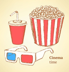 Sketch cinema set in vintage style vector