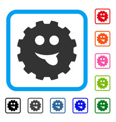 Tongue smiley gear framed icon vector