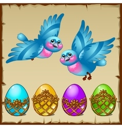 Two blue birds with colored eggs in a golden stand vector image vector image