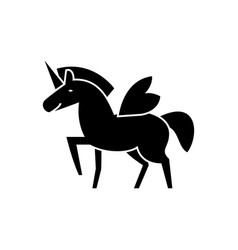 unicorn icon black sign on vector image vector image