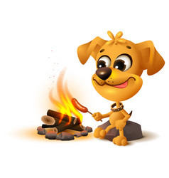 yellow fun dog fries sausage at fire stake vector image