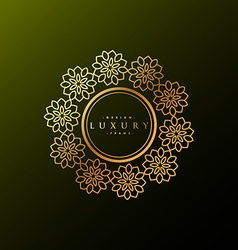 Luxury label made with golden flowers vector
