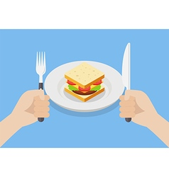 Knife and fork cutlery in hands with sandwich vector