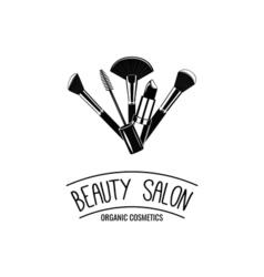 Beauty salon badge makeup brushes logo vector