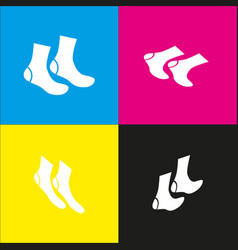 socks sign  white icon with isometric vector image