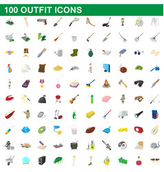 100 outfit icons set cartoon style vector