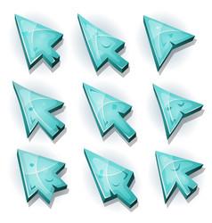 Ice icons cursor and arrows vector