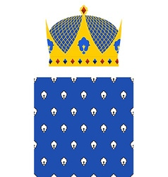 Crown for king and royal pattern set for kingdom vector