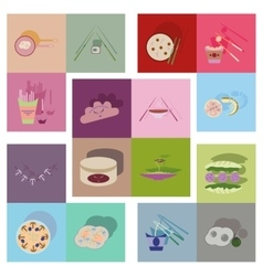 Modern flat icons collection fast food vector