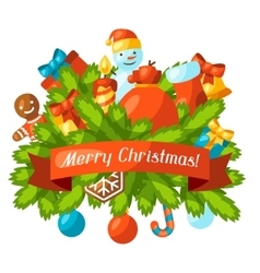 Merry christmas holiday greeting card with vector