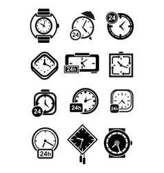 Clocks wristwatches and alarm clocks icons vector