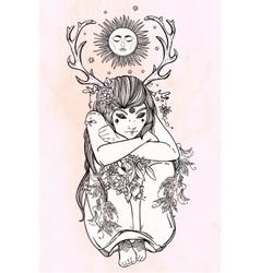 Nature fairy woman boho vector image