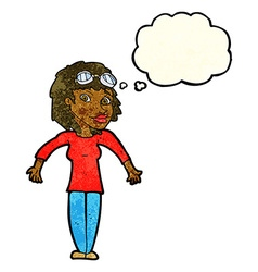 Cartoon woman wearing goggles with thought bubble vector