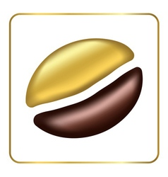 Golden coffee bean singl vector