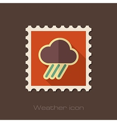 Rain cloud flat stamp downpour rainfall weather vector