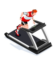 Treadmill gym class working out isometric 3d image vector