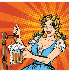 Young blond woman pours a beer germany national vector