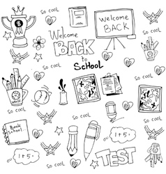 Hand draw doodles school tools vector