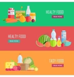 Set of tasty and healthy food web banners vector