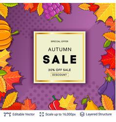 Autumn sale background template vector