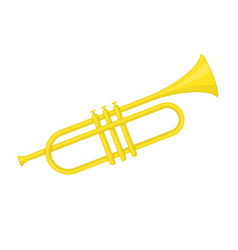 Brass trumpet icon vector