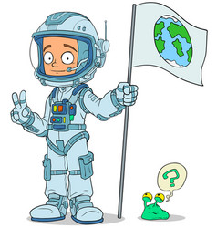 cartoon astronaut in space suit characters set vector image