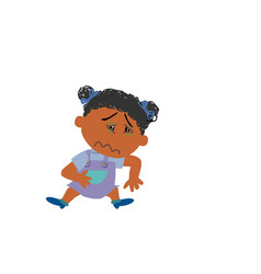 Cartoon character of a sick black girl vector