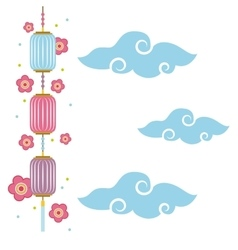 Chinese lanterns decoration vector